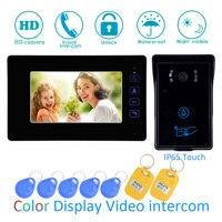 7 Inch Touch panel LCD display Video door Phone Smart Home intercom system RFID Card Door release waterproof Audio doorbell
