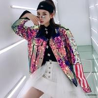 7Mang 2019 Spring Women Streetwear Harajuku Jackets Letter Flag Sequin Jacket Loose Party Coat Long Sleeve Hiphop Outerwear 0226
