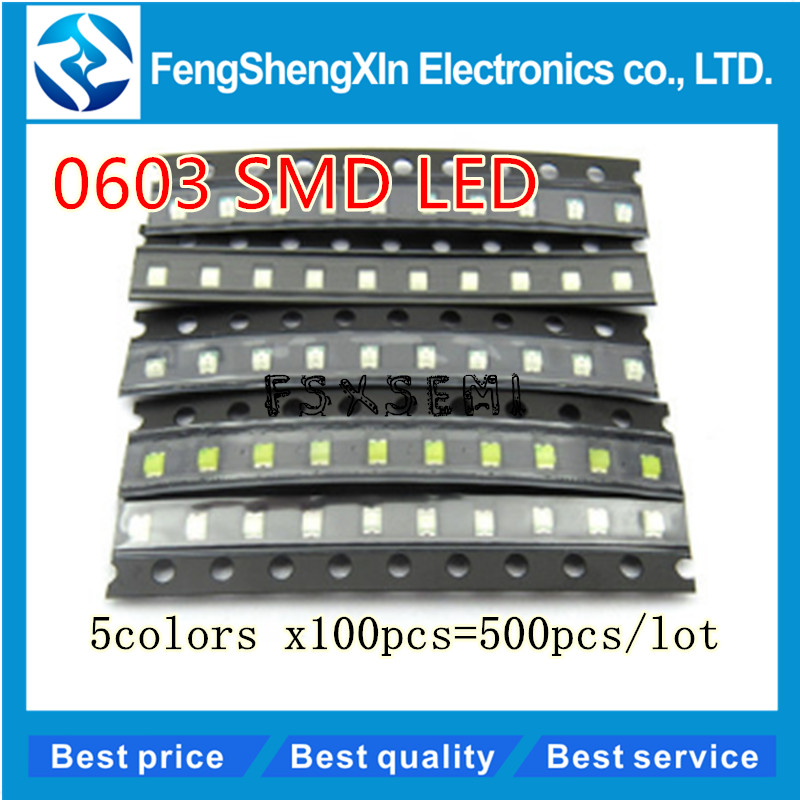 500pcs/lot New 0603 SMD LED  Red/Green/Blue/Yellow/White  5values colors each 100pcs