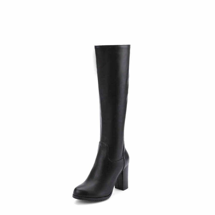 ESVEVA 2019 kadın diz yüksek çizmeler kare yüksek topuklu fermuar yuvarlak ayak PU deri sonbahar bahar motosiklet Boots ayakkabı boyutu 34-43