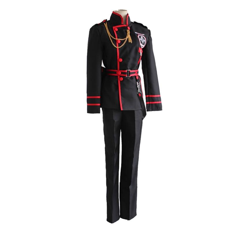 D. Gray-Costume uniforme homme Allen Walker Lenalee Lee Cosplay Costume (haut + pantalon/jupe + ceinture + chaîne + sac de taille)
