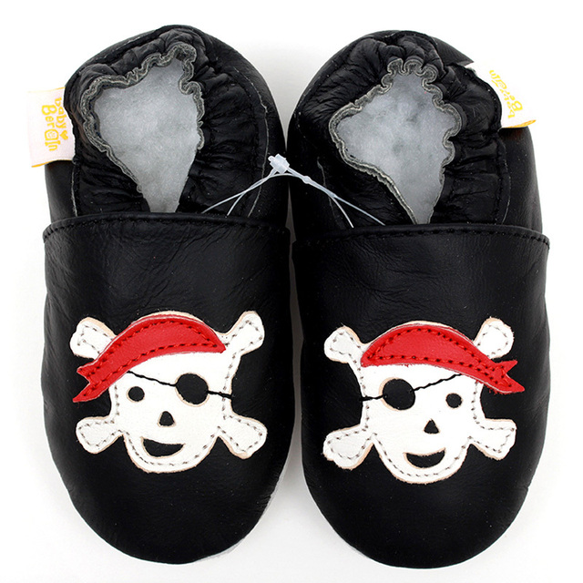 Newborn Leather Baby Shoes Moccasins Boy Slipper Toddler Kids Shoes Black Cartoon Baby Shoes First Walker Footwear Infant Shoe