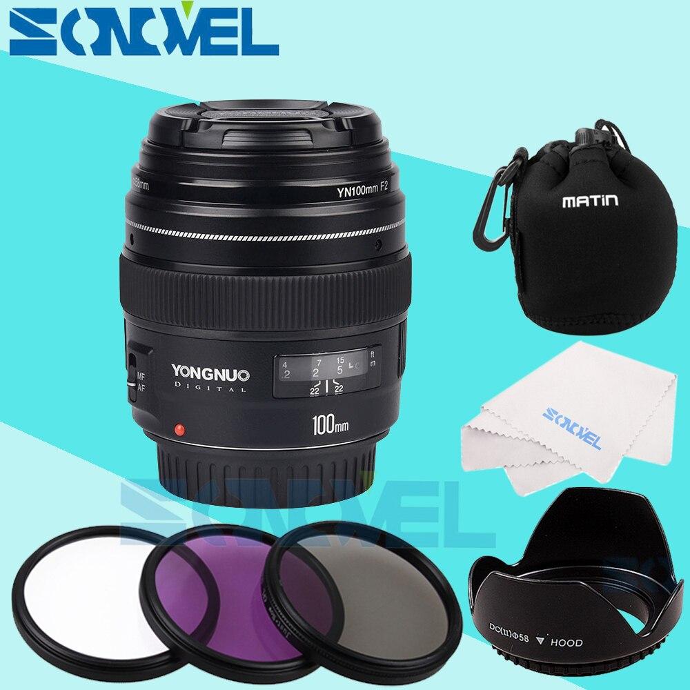Yongnuo YN100mm F2 AF MF moyen téléobjectif objectif de la caméra principale pour Canon EOS rebelle 5D IV 1300D 800D 760D 750D 200D 77D 5D Mark IV