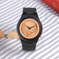 BOBO BIRD Men watches Deer Head Ebony Wooden Quartz WristWatch Mens Timepiece with Leather Band in Gift box erkek kol saati