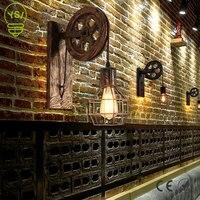 Criativo retro loft lâmpada de parede polia levantamento ajustável luz da parede varanda corredor café bronze arandela luz