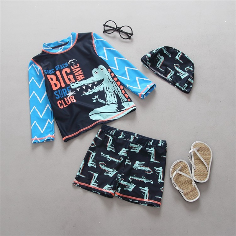 Cool Boy Swimwear Crocodile Long Sleeve Sun Protection Children Two Pieces Rash Guard Surfing Diving Bathing Suit Kids Swimsuits
