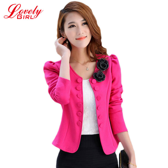 Free Shipping Blaser Feminino 2016 New Fashion Women Slim Blazer Coat Casual Jackets Sleeve Double Breasted Suit Ol Outerwear