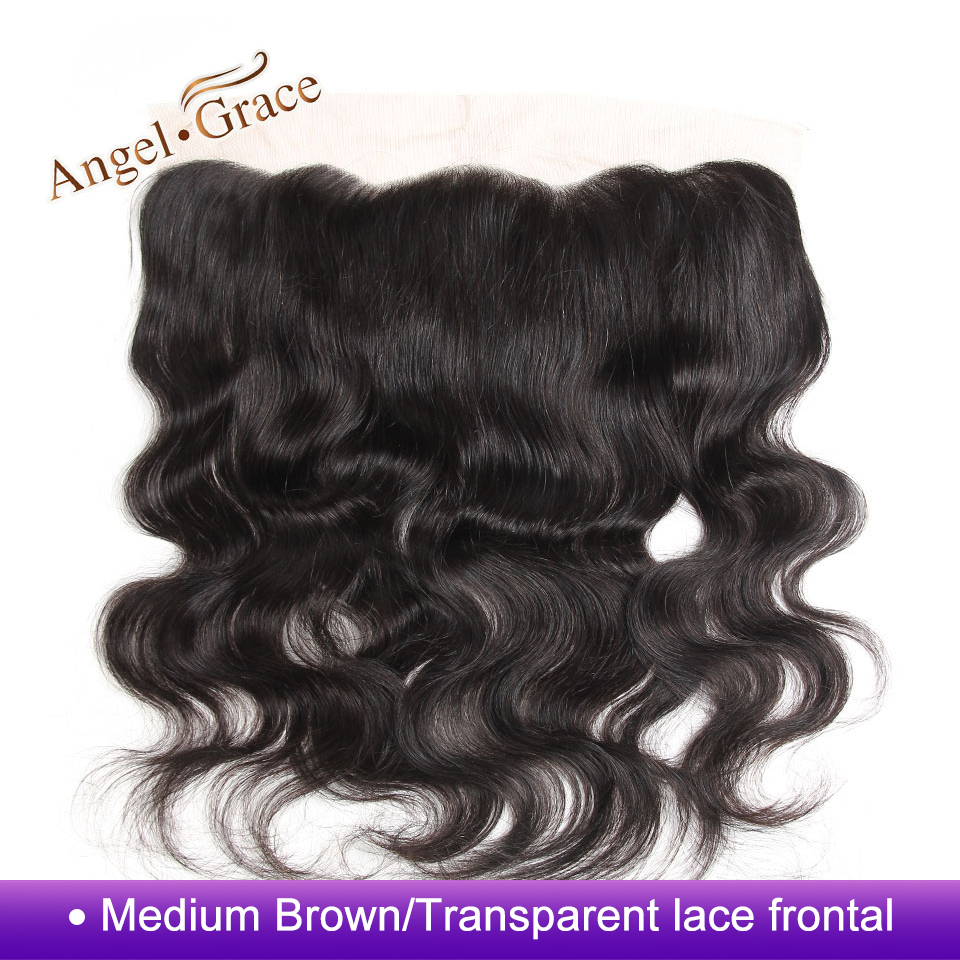 Angel Grace Hair Brazilian Body Wave Frontal Free Part 100 Human Hair Brown Transparent 13 4