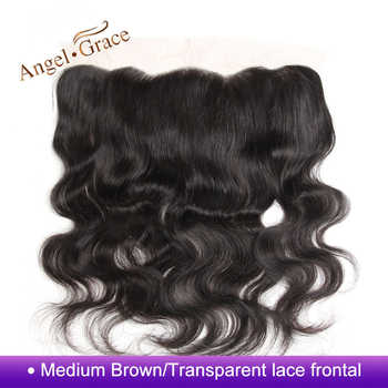 Angel Grace Hair Brazilian Body Wave Frontal Free Part 100% Human Hair Brown/Transparent 13*4 Ear to Ear Lace Frontal Remy Hair - DISCOUNT ITEM  0% OFF All Category