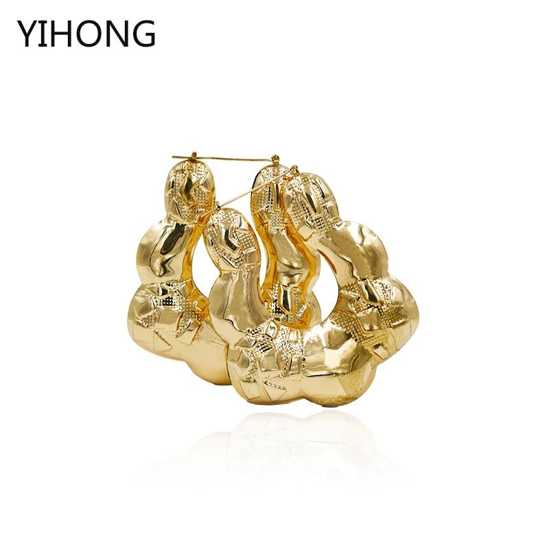 Exaggerated Bohemian Big Hoop Earrings for Women Retro Punk Bamboo Basketball Gold Earrings Fashion Jewelry