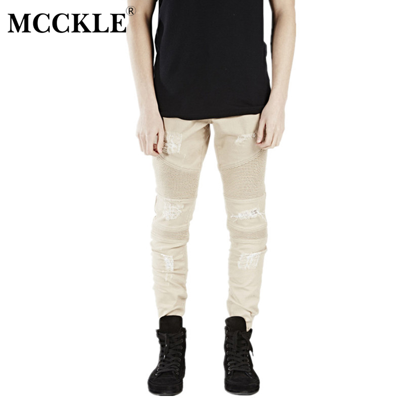 MCCKLE Fashion Hi-Street Mens Khaki Ripped Biker Denim Jeans Famous Brand Designer Skinny Motorcycle Jeans Mens Distressed Jeans кружка amber porcelain 220 мл 214176
