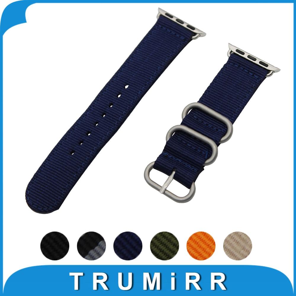 Prix pour Nylon Bracelet + Adaptateurs pour iWatch Apple Watch 38mm 42mm Zulu Bande Tissu Courroie de Poignet Bracelet Noir Bleu Brun vert
