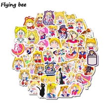 Flyingbee 50 Pcs Sailor Moon Cute Sticker Graffiti waterproof skateboard sticker personality luggage computer stickers X0250