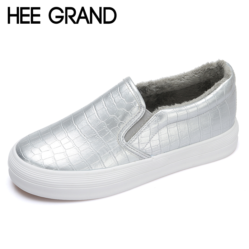 HEE GRAND Fur Warm Platform Shoes Woman Silver Glitter Creepers Slip On Fleeces  Casual Spring Women Flat Shoes Loafers XWD7028 95204c432226