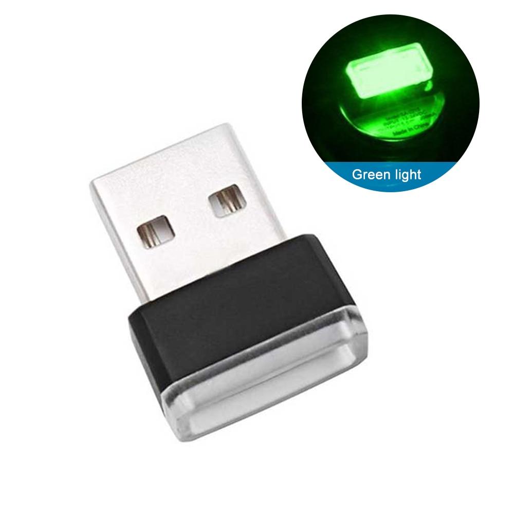 Мини USB светильник светодиодный модельный автомобильный окружающий светильник неоновый интерьерный светильник Автомобильные украшения(7 цветов на светильник - Испускаемый цвет: Зеленый