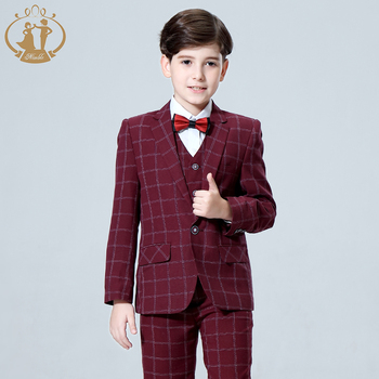 2019 New 3PCS Kids Plaid Wedding Blazer Suit for Christening Boy Formal Wedding Suit Fato Menino Casamento Costume Boys Tuxedo