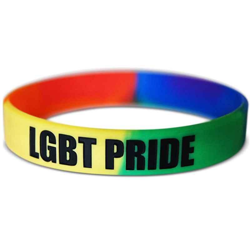 18 rodzaje Unisex LGBT Rainbow litery opaska sportowa na nadgarstek sześć kolorów gejów lesbijek duma z gumy silikonowej torebka z paskiem na nadgarstek bransoletka Party parady