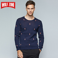 2017 Winter Knitted Sweater Men 100% Cotton Casual Pullover Brand Clothing O neck Long Sleeve Pullovers for Solid Mens Sweaters
