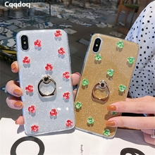 Cqqdoq Bling Flower Petals Phone Case For iPhone X XR XS MAX Finger Ring Holder Protection Cases 6 6S 7 8 Plus Fundas