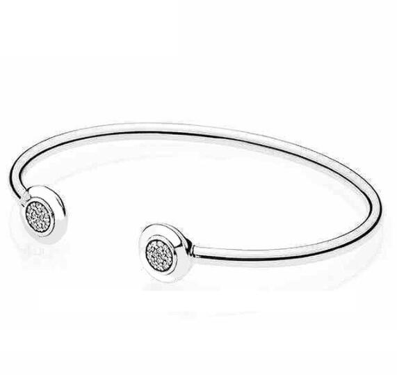 Authentic 925 Sterling Silver Pan Bangle Signature With Crystal Open Bracelet Fit Women Bead Charm Diy Europe Jewelry