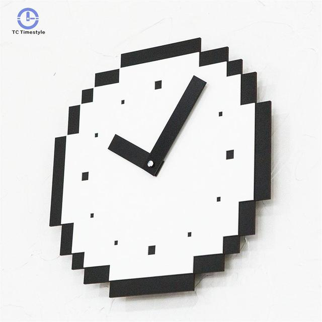 Wall Clock For Cafe Home Decor Pixels Style Pine Wood Clocks Vogue European Minimalist Superior Silently Watches