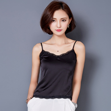 Crop Top Women Summer Sexy Lace Silk Camis Tank Tops Cropped Sleeveless Blouse fitness Women Shirt Casual debardeur femme