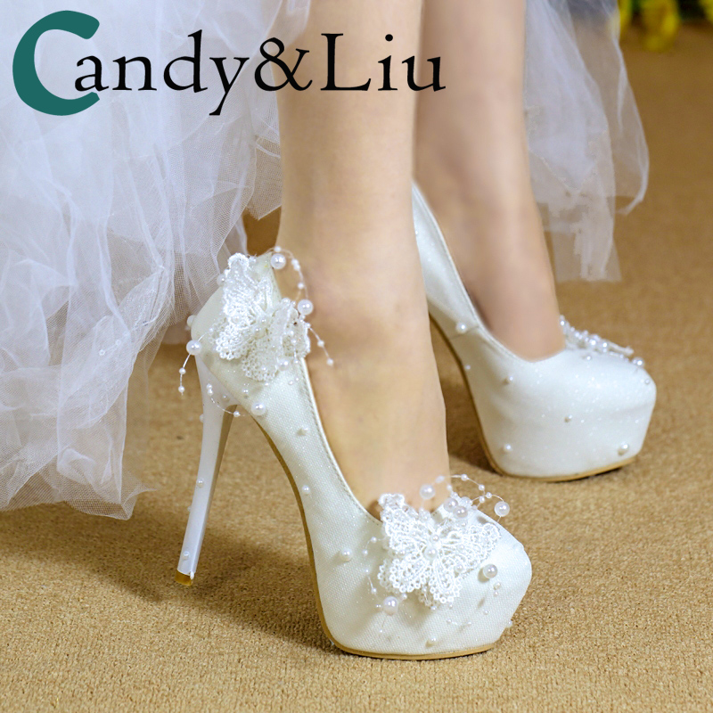 Wedding Pumps For Women White Lace Butterfly Beading Pearls Dress Shoes Bridesmaids Elegant 2cm 6cm 8cm 11cm 14cm Girls Heels