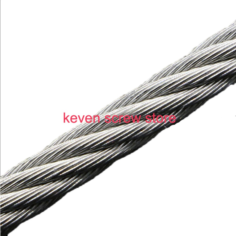5m/lot 1.5mm/2mm/3mm/4mm/5mm/6mm High Stainless Steel Wire Rope Tensile Diameter 7X19 Structure Cable Gray high quality 50 meters 1 5mm 1 7mm stainless steel wire rope