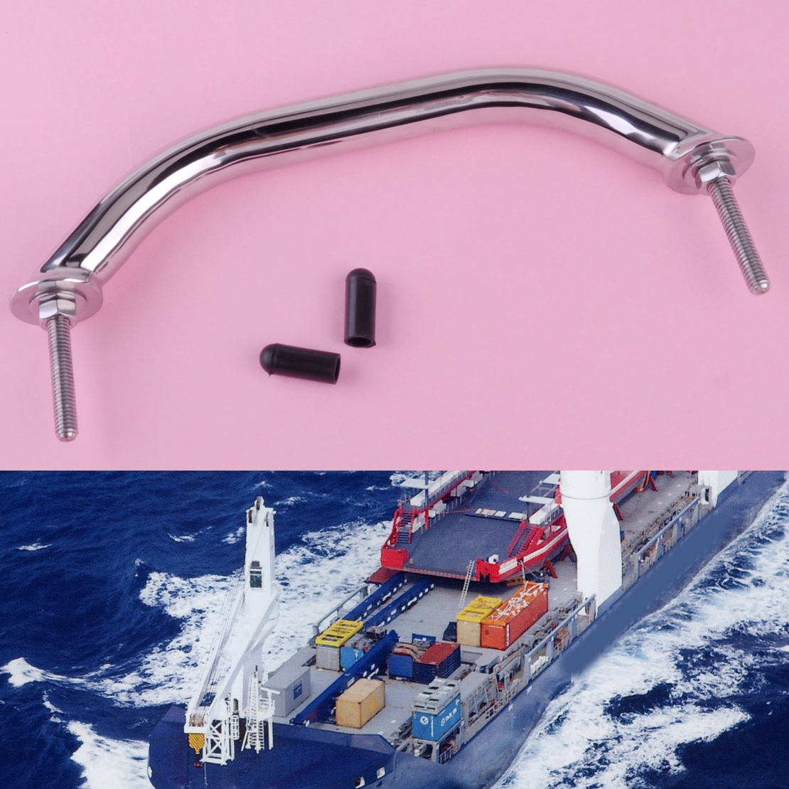 DWCX 9 inch Great Stainless Steel Polished Boat Handle Durable Grab Hardware Replacement for Boat Marine Bimini Top Yacht Ship