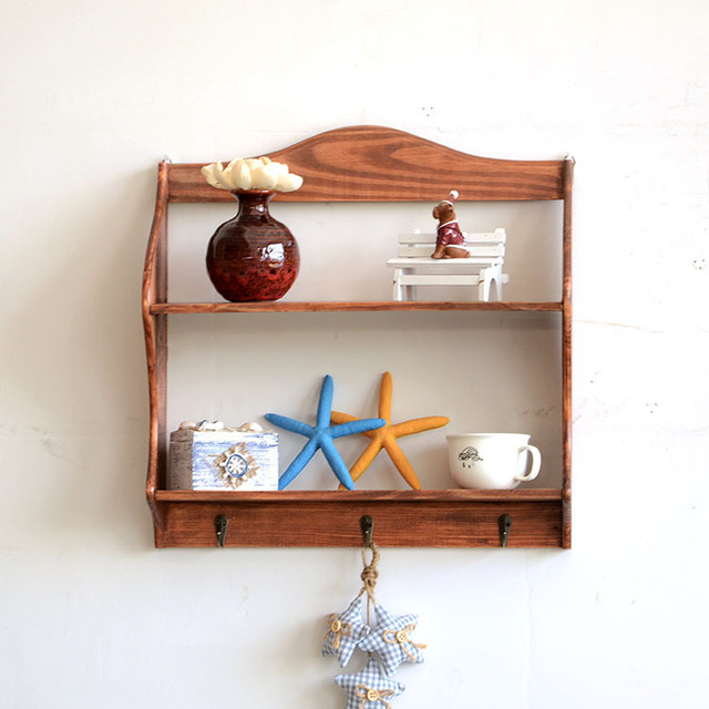 Zakka wood wall shelf creative wooden decorations wooden garden plate rack hanging box to do the : hanging plate holders - pezcame.com
