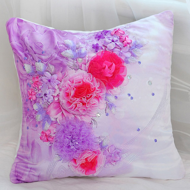 3D printing stitch / Ribbon embroidery pillow / living room ...