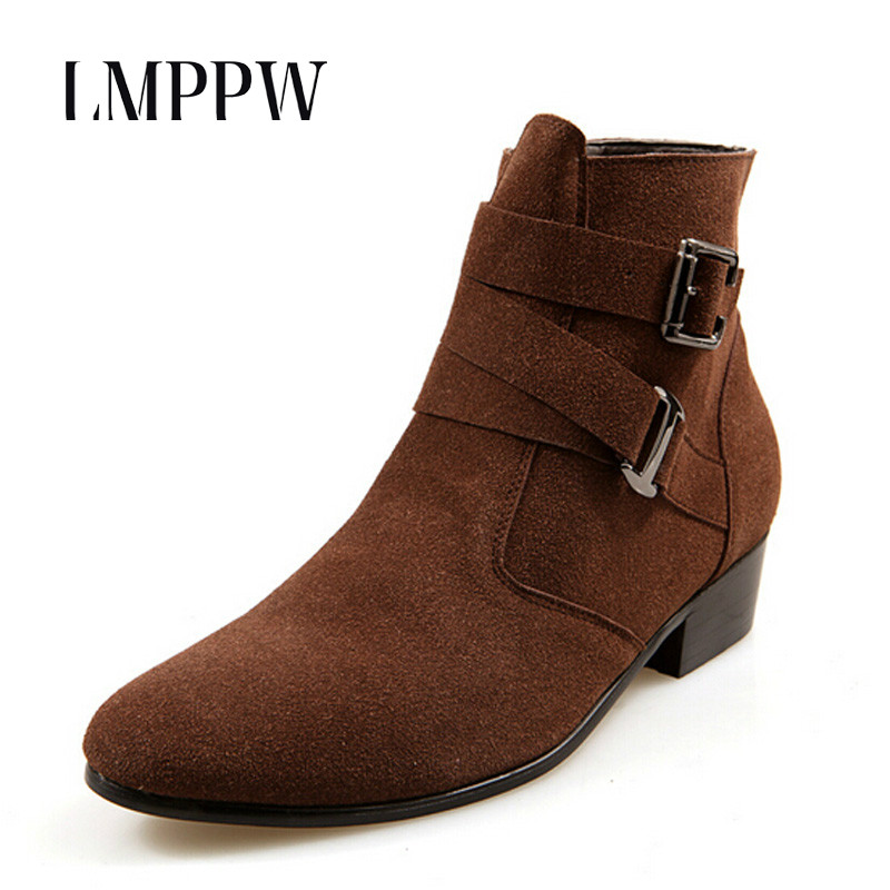 New Genuine Nubuck Leather Men Winter Boots Fashion Pointy Ankle Boots Black Brown Male Casual Martin Boots Shoes Botas Hombre 8 цена