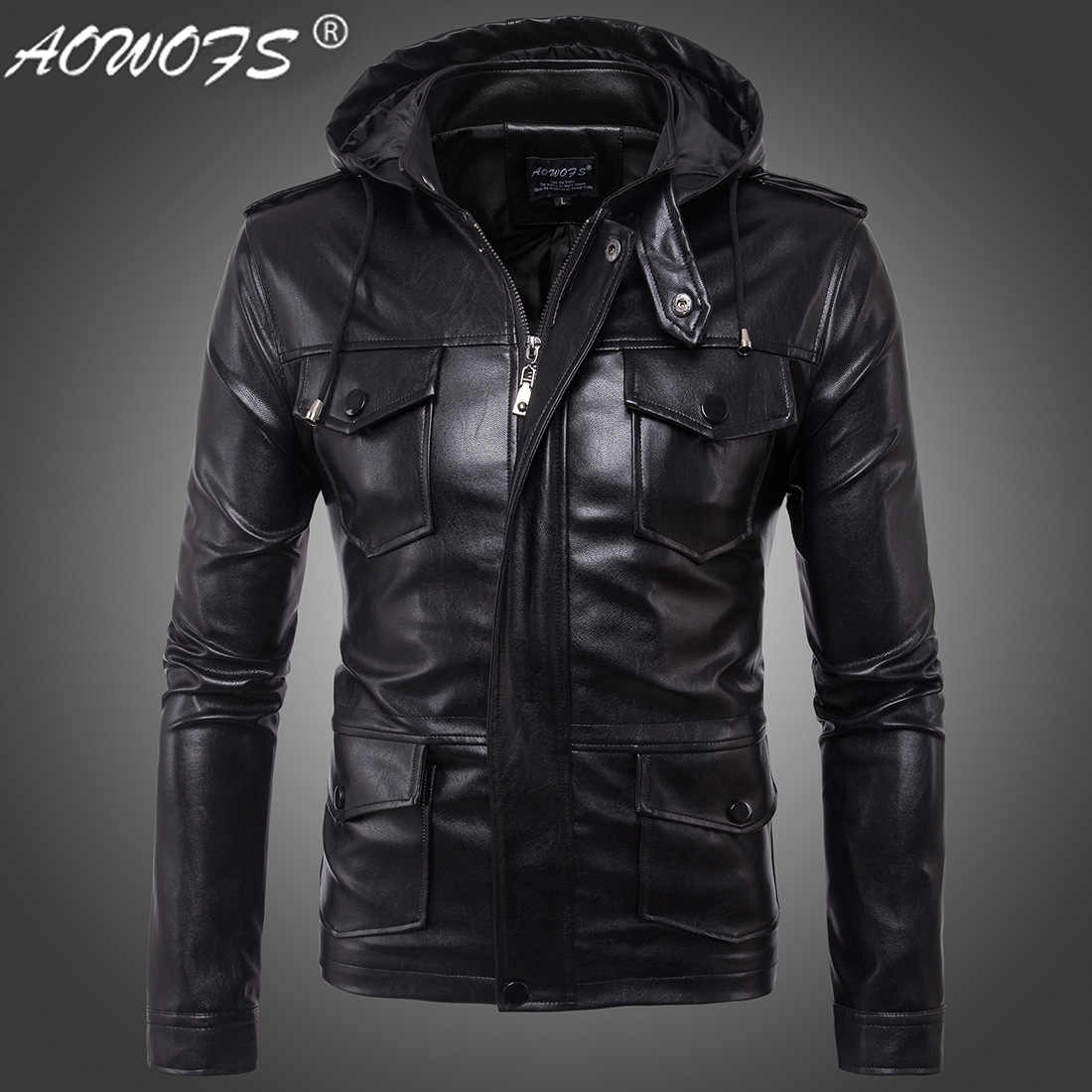 85a660dd3 The new 2017 hot leather jackets men's fashion European size new men's  leather hooded jacket