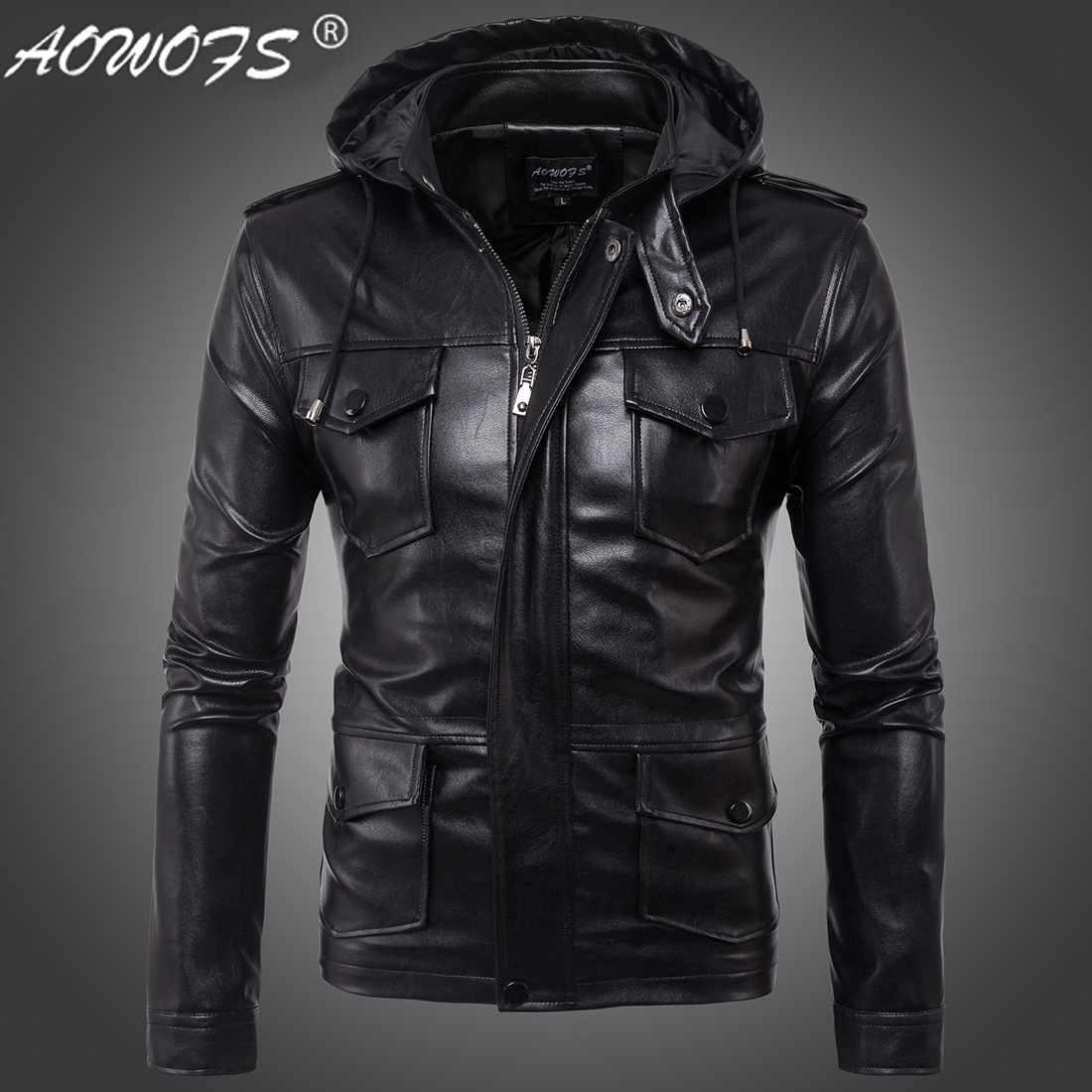 The new 2017 hot leather jackets mens fashion European size new mens leather hooded jacket