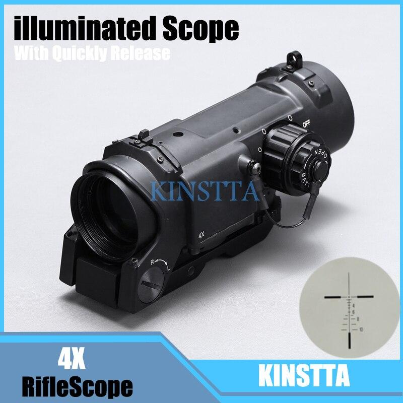 Tactique 4x Fixe Double Rôle Rifle Optique Portée/Airsoft Scope/Magnificate Portée Fit 20mm Weaver Picatinny Rail pour La Chasse