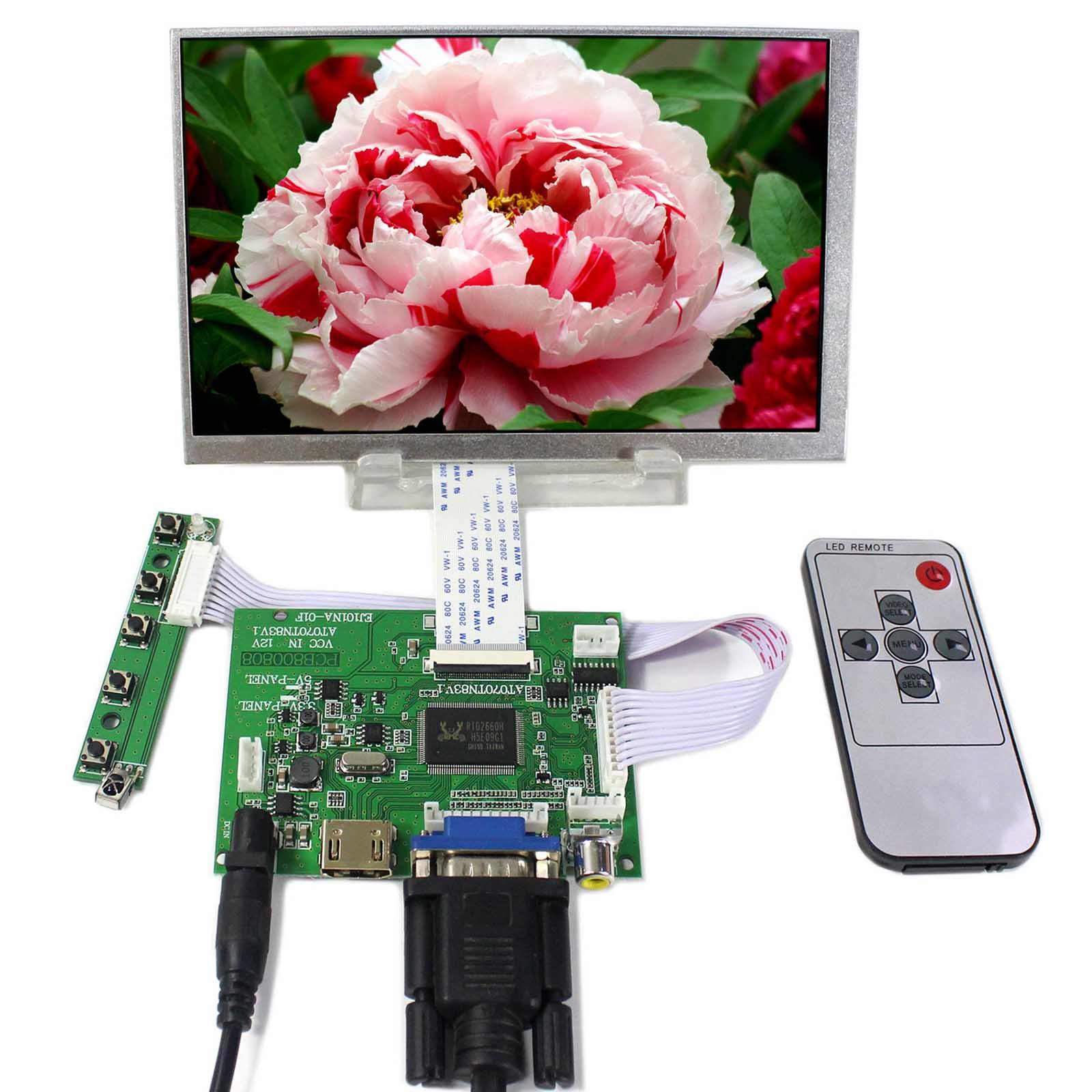 все цены на HDMI VGA 2AV LCD Controller Board With 7inch 800X480 AT070TN83 V1 LCD Screen онлайн
