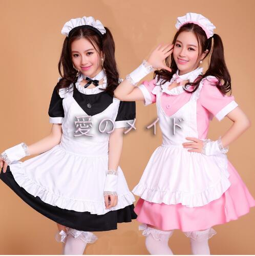 Robe de femme de chambre rose/noire Lolita femmes Costume de Cosplay Alice Anime Cosplay robes de Club de fête vêtements de travail Costumes pour femmes - 2