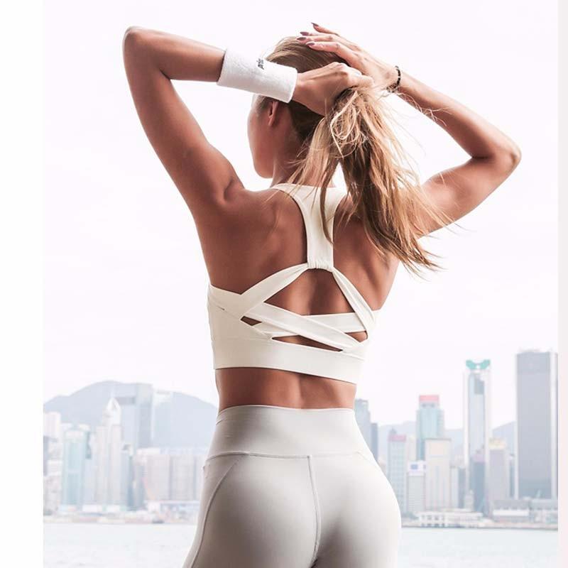 Women White Strap Push Up Sports Bra for Women Gym Running yoga top Bra Athletic Vest Hollow out Sportswear Underwear(China)