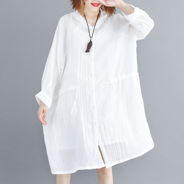 07a935933d821 US $16.91 31% OFF Summer Women Thin Casual Sunscreen Shirt With Pocket  Beach Travel Fashion Tops Girl Cheap Cool White Hooded Blouse jn348-in  Blouses ...