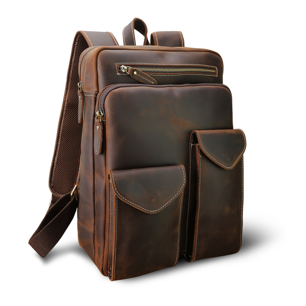 Men's Bags Backpacks Discreet Tiding Mens Genuine Leather Vintage Backpack Multifunction Mountaineering Bag For Military Carry On Hiking Brown 3584fs