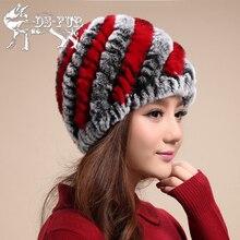 2016 Women's Winter Hat New Design Real Rex Rabbit Fur Cap For Women Warmly Simple Striped Beanies Handle Weaving Real Fur Hats