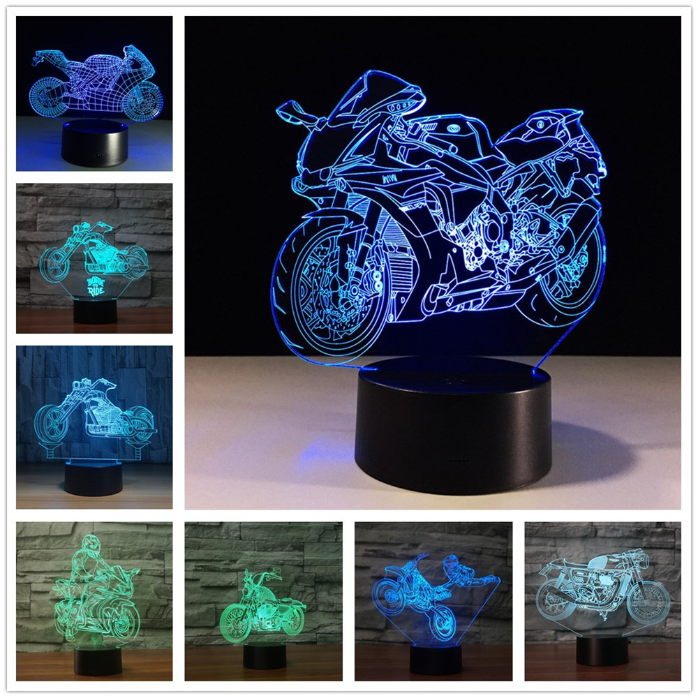 3D Fast And Furious 8 Motorcycle LED Night Light Color Changeable Table Lamp Methacrylate Plate Children Nightlight Lamparas