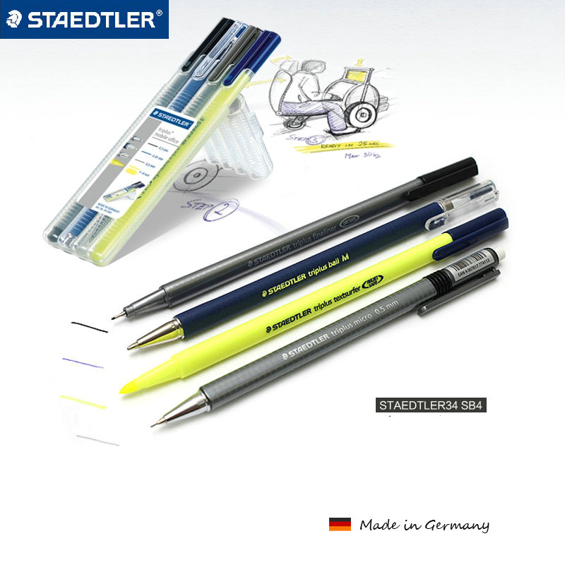 STAEDTLER Triplus Mobile Office 34 SB4 multi functional pen set Fineliner Pen/Ballpoint pen/Mechanical pencil/Highlighter 4Pcs|staedtler triplus|fineliner pen|pen set - title=