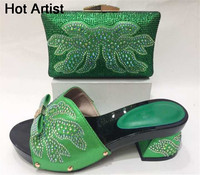 Latest Italian Flowers Rhinestone Shoes And Bag Set Nigerian Style Women High Heels Shoes And Bag
