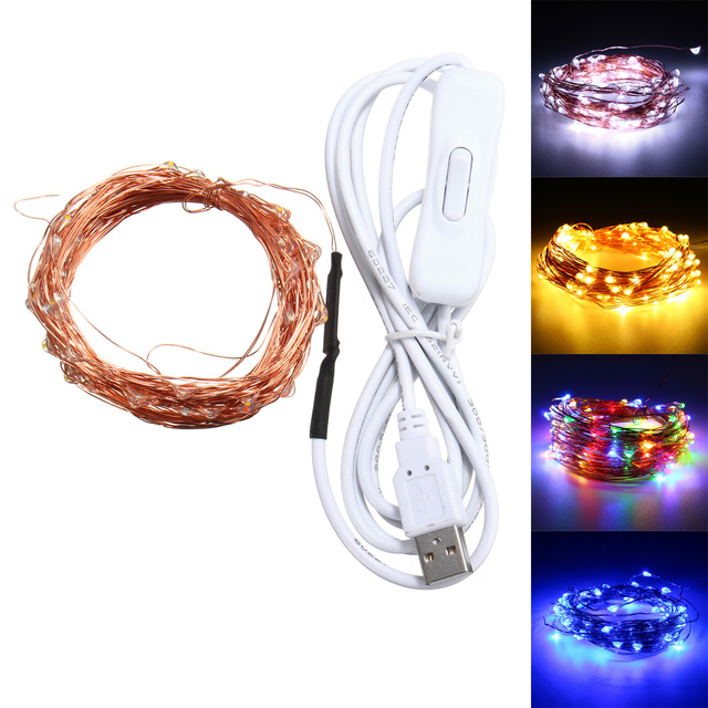 Jiguoor 10M 100 Waterproof USB LED Fairy String Copper Wire Holiday ...