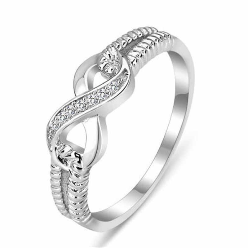 Yobest 2019 جديد الفضة العصرية إنفينيتي خواتم الاصبع أنيقة للنساء الزفاف المشاركة مجوهرات هدية