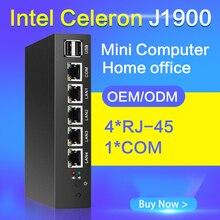 Tablette без вентилятора мини-ПК J1900 Quad Core 4 LAN маршрутизатор Окна 10 HTPC pfsense ТВ коробка 4 RJ-45 безопасности компьютер консультация плеер