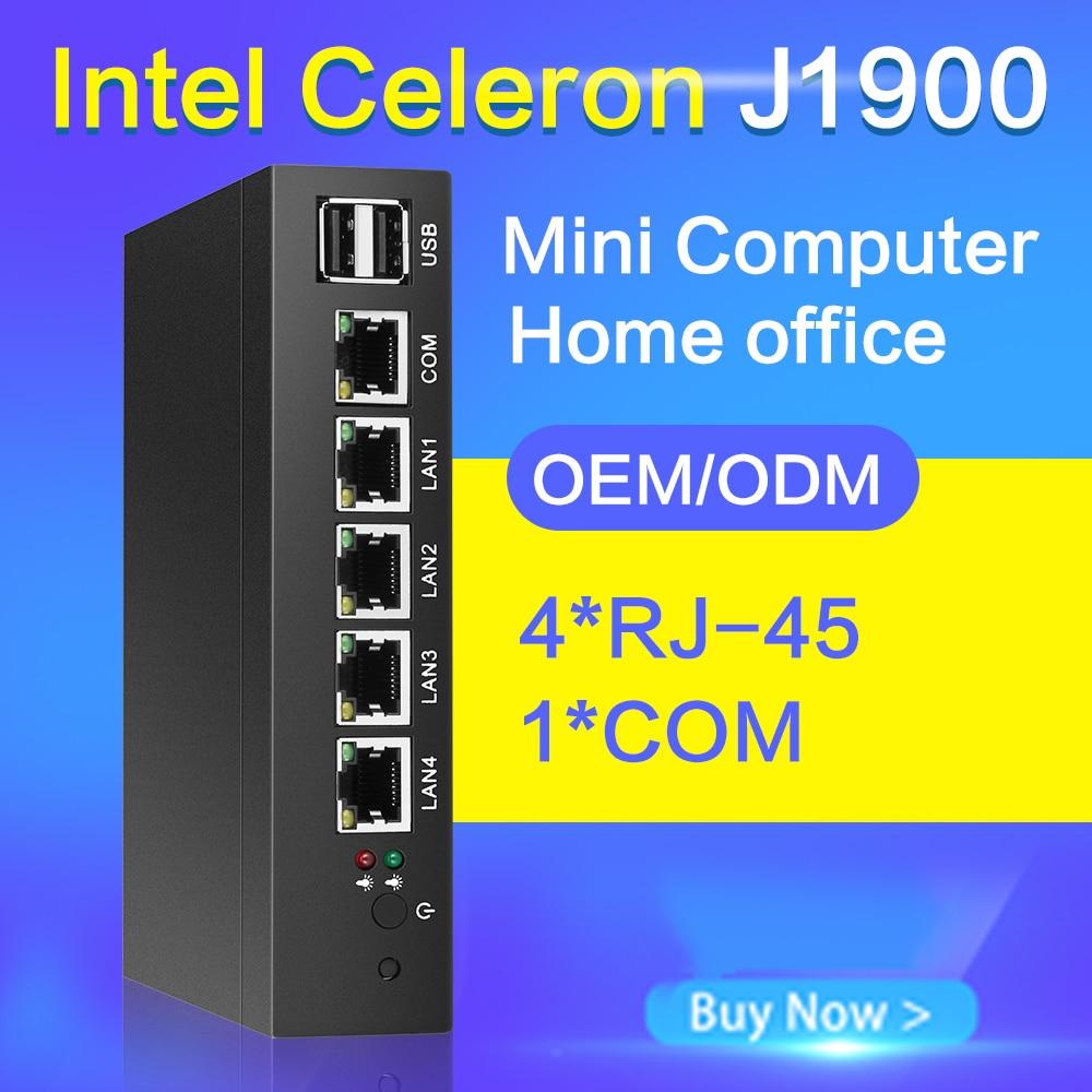Fanless Mini PC J1900 Quad-core 4 LAN Firewall Router Run Pfsense ROS  Sophos Intel Gigabit Ethernet Gateway VPN Appliance