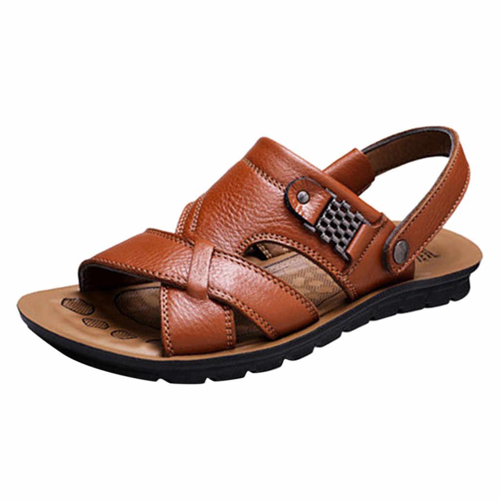 2019 erkek Süper Hafif Erkekler Yaz Nefes Deri Sandalet Plaj terlik deri ayakkabı Moda Nefes Erkek Ayakkabı