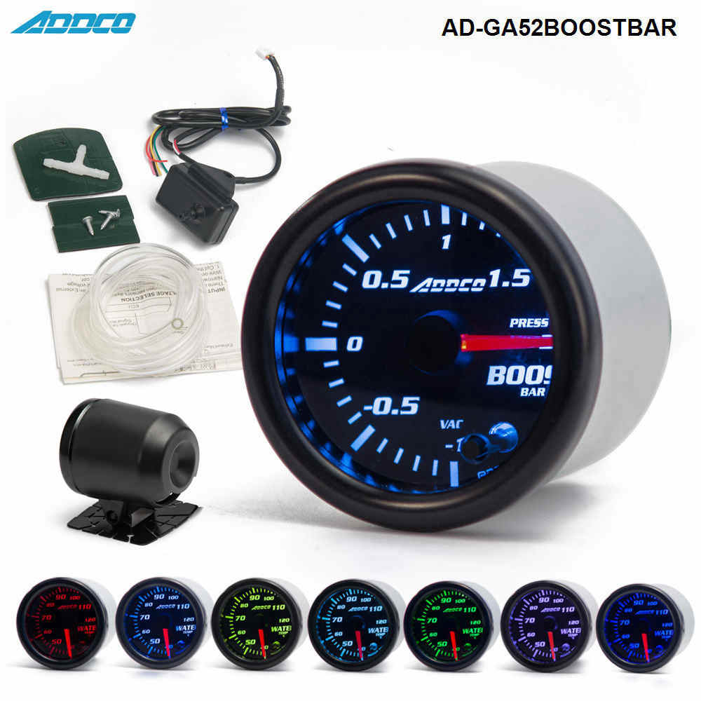 "2"" 52mm 7 Color LED Smoke Face Car Auto Bar Turbo Boost Gauge Meter With Sensor and Holder AD-GA52BOOSTBAR"